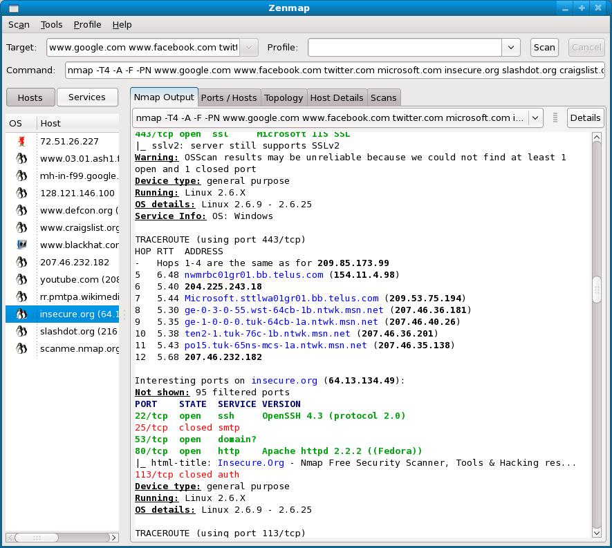 nmap 5.0 security scanner