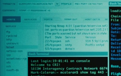 Screen shot from The Bourne Ultimatum showing nmap
